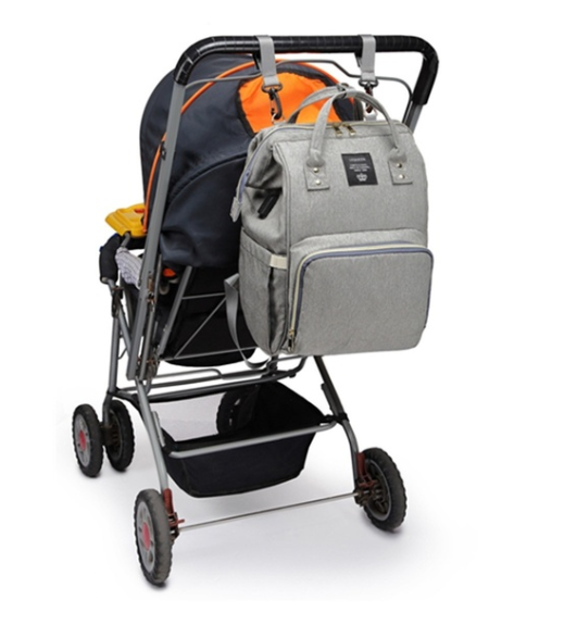 Stroller View - Grey Diaper Bag Backpack with USB Phone Charger, Insulated Bottle Keeper & Stroller Straps