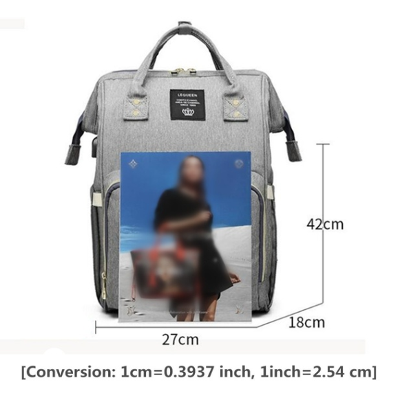 Size - Grey Diaper Bag Backpack with USB Phone Charger, Insulated Bottle Keeper & Stroller Straps
