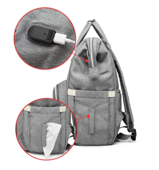 USB Tissue View - Grey Diaper Bag Backpack with USB Phone Charger, Insulated Bottle Keeper & Stroller Straps