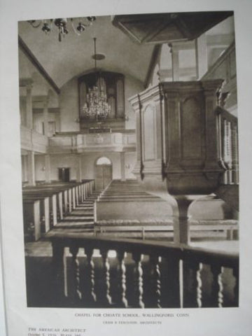 Chapel for Choate School, Interior in Wallingford, CT, 1926. Cram & Ferguson