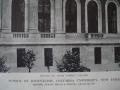 Facade: School of Journalism in Columbia University, New York, 1913. McKim, Mead & White
