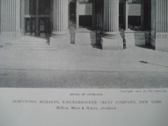 Knickerbocker Trust Company, Entrance, New York, NY, 1911, Lithograph. McKim, Mead, & White.