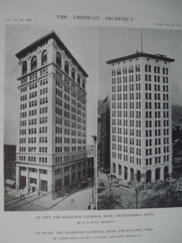 Hamilton/Mahoning National Banks, Chatt.,TN/Youngstown, OH 1912, Lithograph. Hunt, Kahn, & Wade.