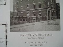 Emmanuel Memorial House, Boston, Mass. 1910, Lithograph. Kilham & Hopkins.