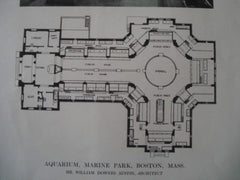Aquarium with Plans, Marine Park, Boston MA, 1913. William Downes Austin