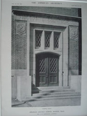 Abraham Lincoln School, Doorway Detail, Boston, Mass. 1912, Lithograph. A.W. Longfellow.