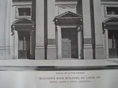 Boatman's Bank Building, Detail of Lower Stories in St. Louis, MO, 1915. Eames & Young