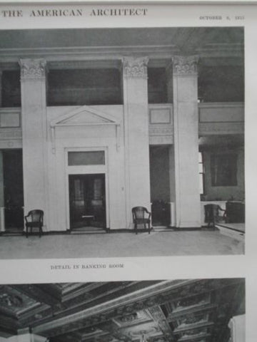 Boatman's Bank Building, Entrance & Banking Room, St. Louis MO, 1915. Eames & Young