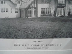 House of F.G. Schmidt, ESQ., Kingston, N.Y., 1911, Lithograph. Albro & Lindeberg.