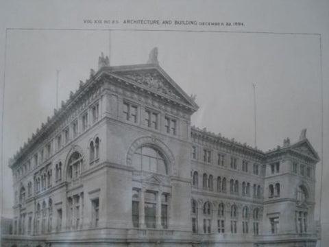 Criminal Court House, New York NY, 1894. Thom & Wilson. Gelatine