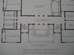 Douglas School in Cincinnati OH, 1915. Garber & Woodward. Lithograph