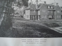 Esher Lodge, Exterior, in Surrey, England, 1915. Sheppard & Harris. Lithograph