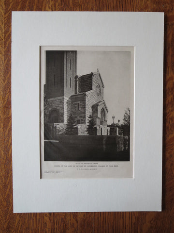 Chapel, St. Catherine's College, St. Paul, MN, H.A. Sullwold, 1924, Lithograph
