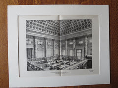 Bowery Savings Bank, Counting Room, NY, McKim, Mead & White, 1901, lithograph