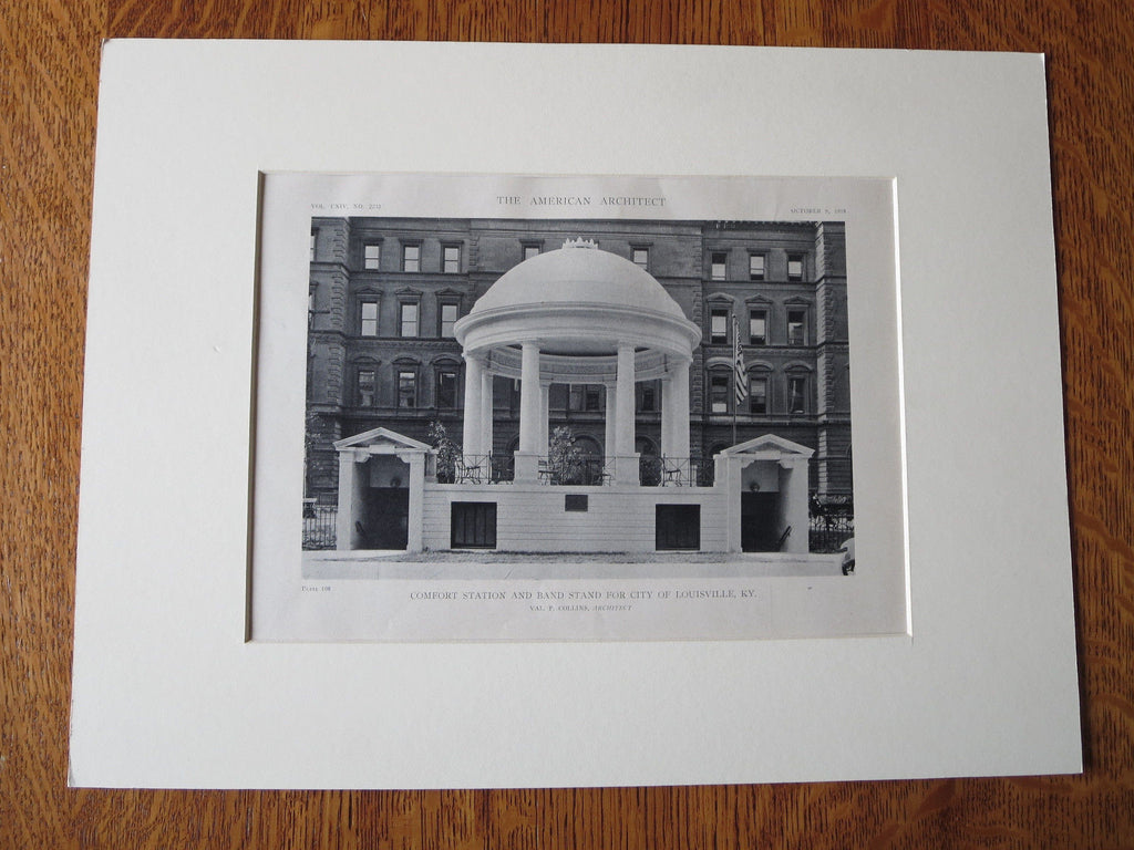 Comfort Station and Band Stand, Louisville, KY, V.P. Collins, 1918, Lithograph