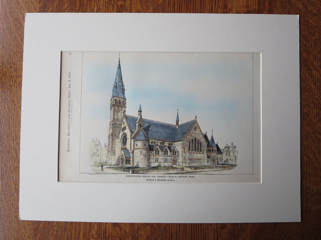 Trinity Church, Boston, MA, Original Plan. Sturgis & Brigham
