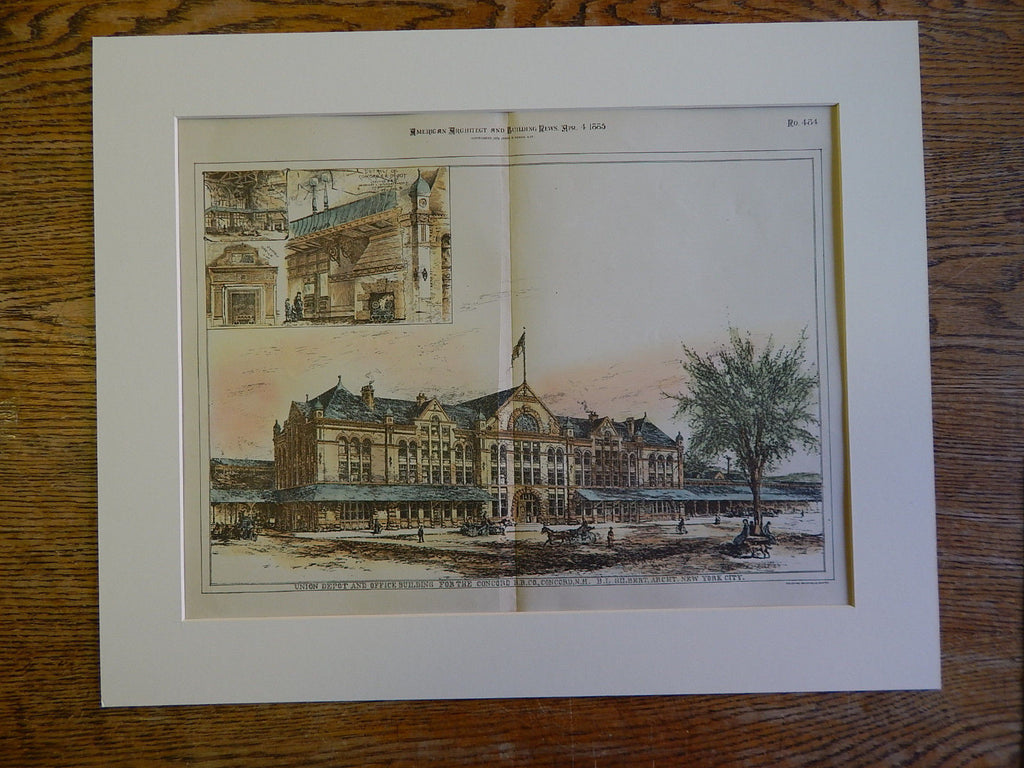 Union Depot, Concord RR, Concord, NH, 1890, BL Gilbert, Archt. Original Plan