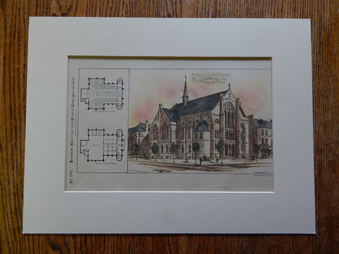 Asbury M.E. Church, Philadelphia, PA, 1885, John Ord, Architect, Original Plan