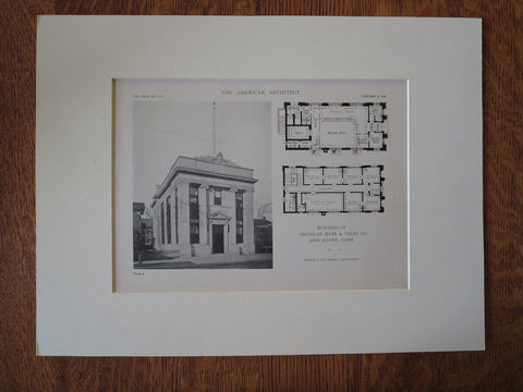 American Bank & Trust, New Haven, CT, Brown & Von Beren, 1918, Lithograph
