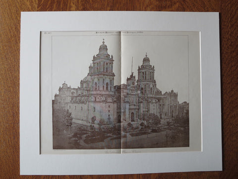 The Cathedral, Mexico City, Mexico, American Architect, 1885, lithograph