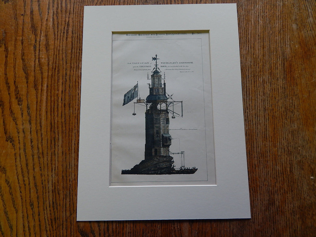 Winstanley's Lighthouse, Edystone Rock, UK, 1886. Hand Colored Original Plan