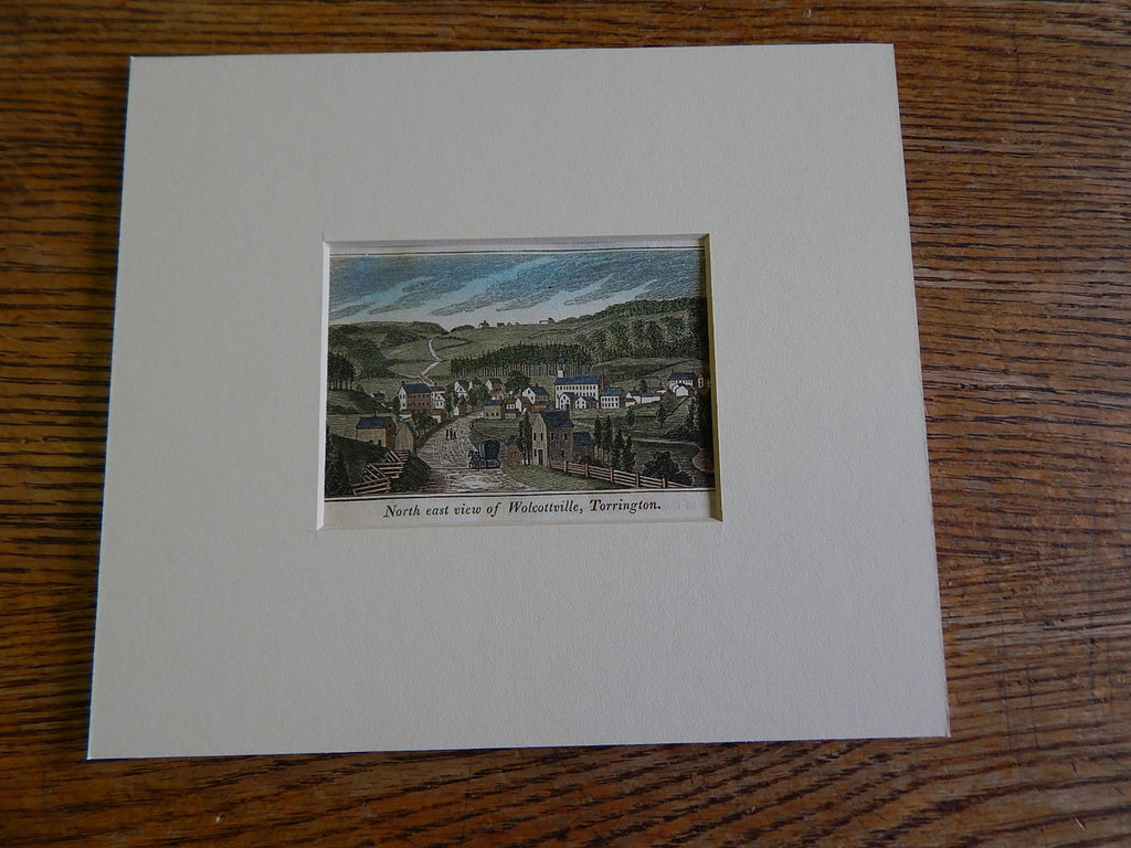 Miniature Illustration, Wolcottville, CT, 1836. Hand Colored, Original