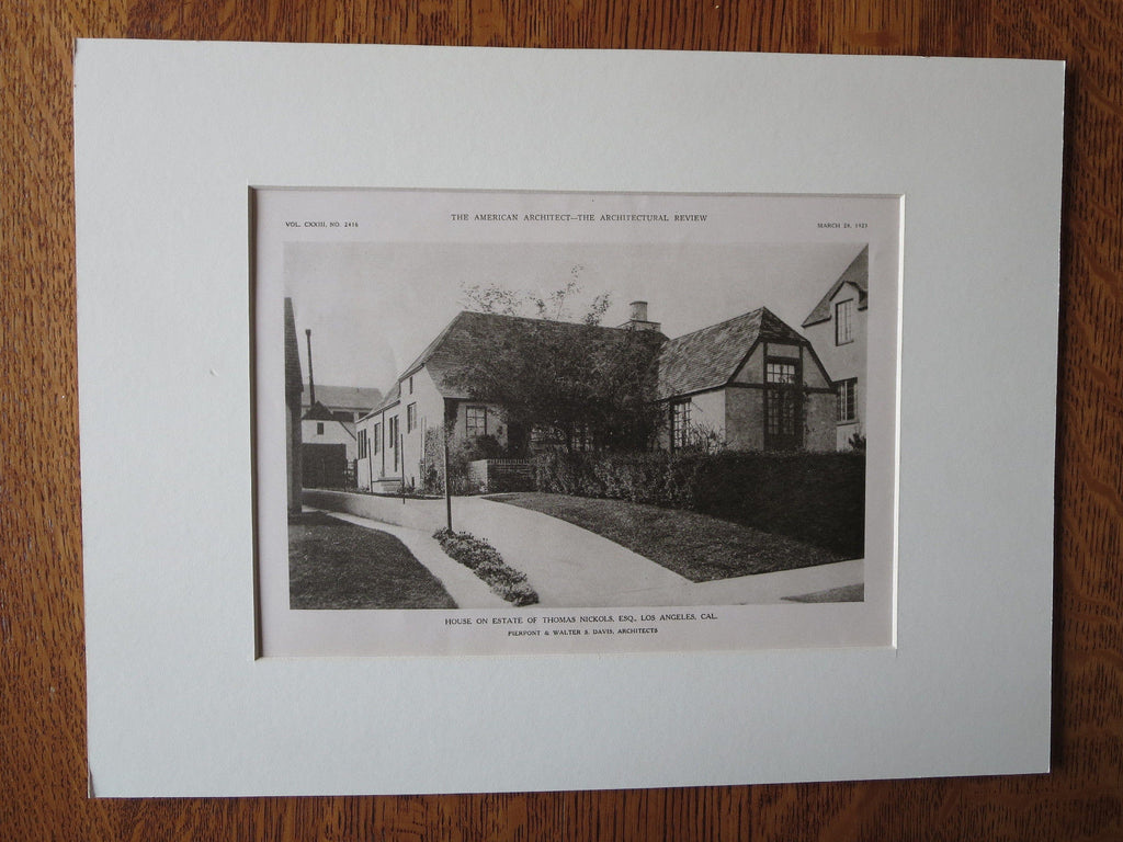Thomas Nickols Estate, Los Angeles, CA, Pierpont & Davis, 1923, Lithograph