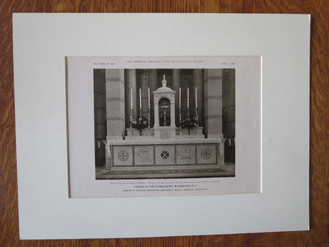 Church/Sacred Heart, Altar, Washington DC, Murphy & Olmsted, 1923, Lithograph