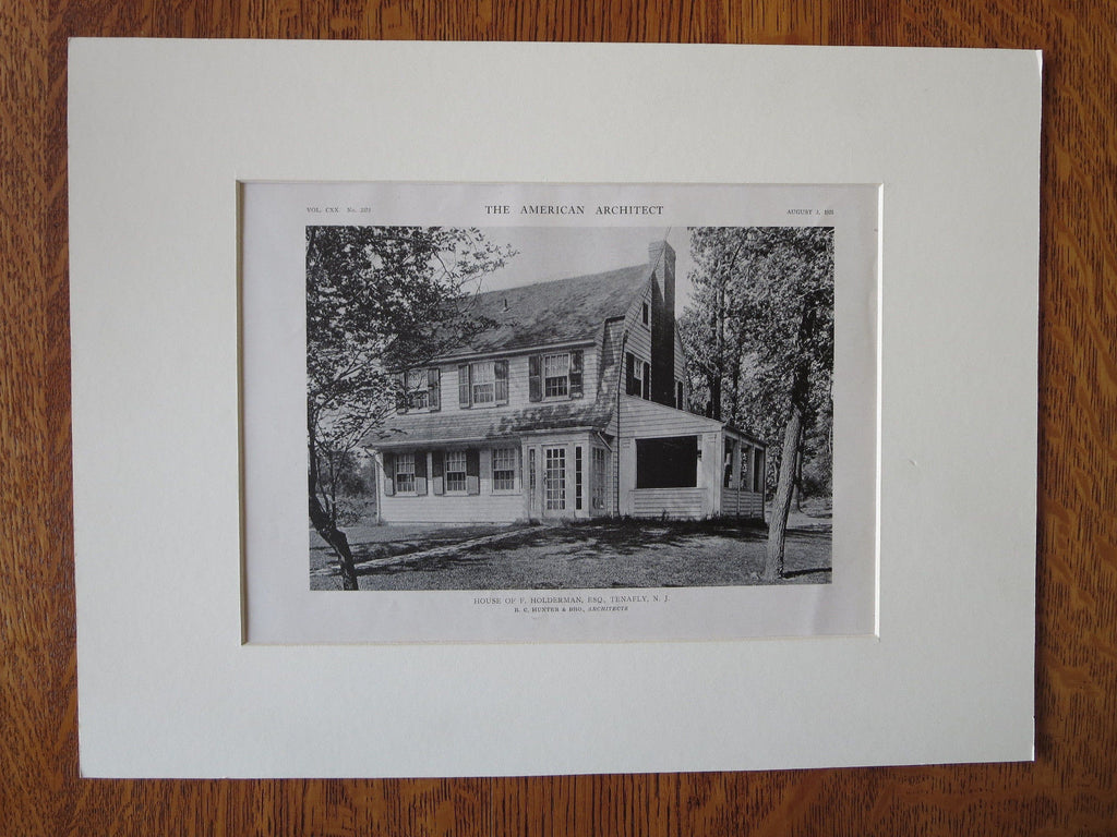 F. Holderman, Esq. House, Tenafly, NJ, R.C. Hunter & Bro., 1921, Lithograph