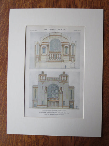 Adath Jeshurun Synagogue, Philadelphia, PA, 1911, Original Plan. Day & Klauder