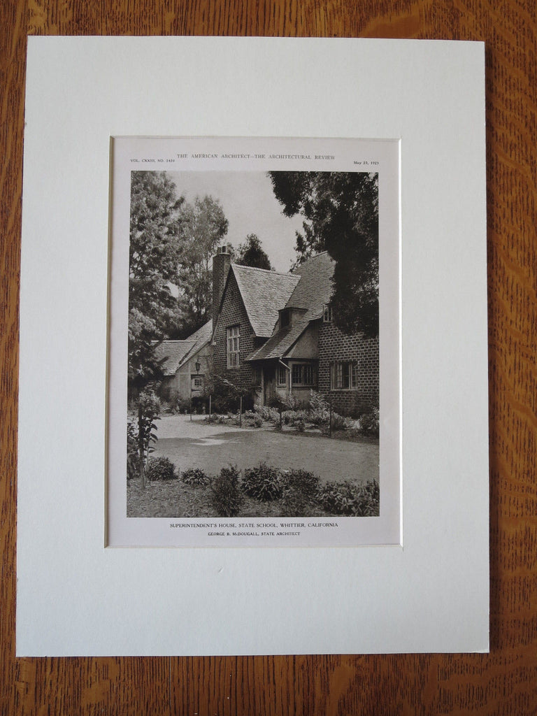 Superintendents House, State School, Whittier, CA, G McDougall, 1923, Lithograph