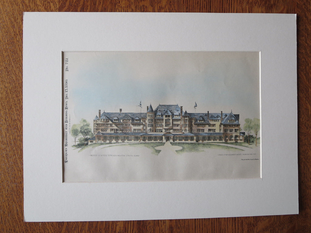Hotel Castleton, New Brighton, Staten Island, NY 1890 Original Plan Hand Colored