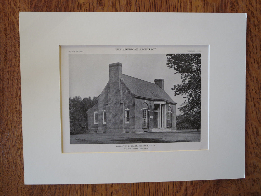 Boscawen Library, Boscawen, NH, Guy Lowell, 1916, Lithograph