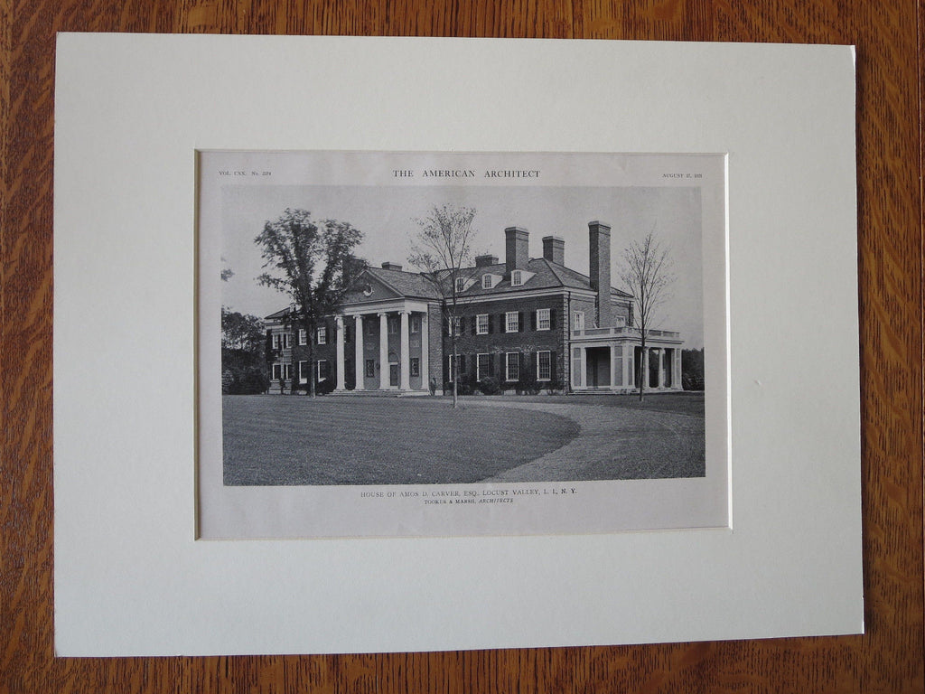 Amos Carver House, Exterior, Locust Valley, NY, Tooker & Marsh, 1921, Lithograph
