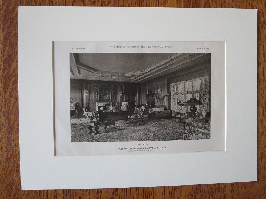 L.H. Shearman House, Interior, Lakeville, NY, James O'Connor, 1921, Lithograph