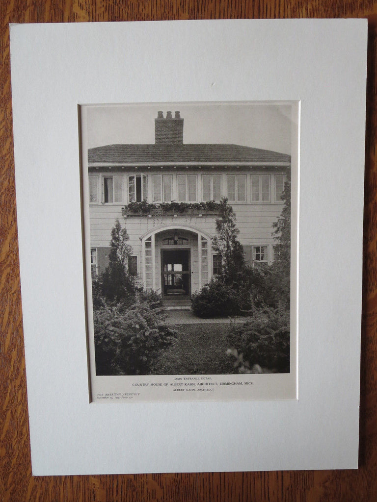 Albert Kahn Country House, Birmingham, MI, Albert Kahn, 1924, Lithograph