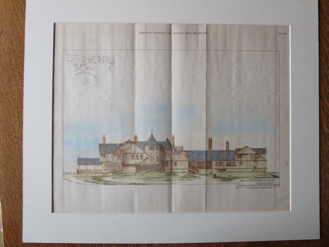 A. Calden House, Lloyds Neck, Long Island, NY, 1879, Original Plan Hand Colored