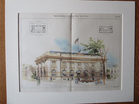 US Post Office, Kansas City, Kansas, 1900, J. Taylor, Original Plan Hand Colored