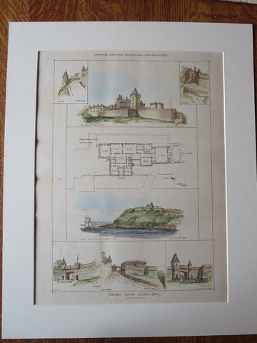 Chateau, St. Louis, Quebec, Canada, 1877, Original Plan Hand Colored