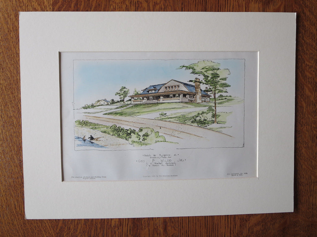 G. Wilde Bungalow, Duxbury, MA, 1905. C.H Blackall, Original Plan Hand Colored