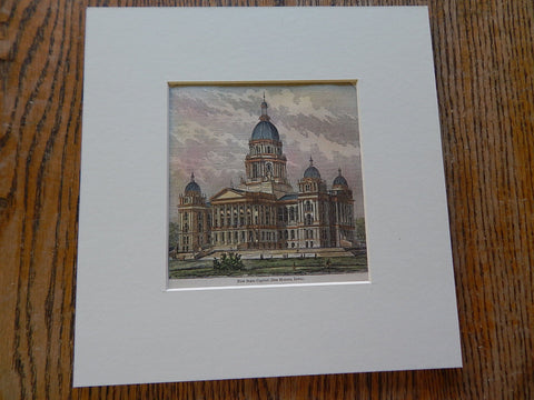 Miniature, New State Capitol, Des Moines, IA, 1836. Hand Colored, Original