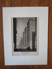 The Roosevelt, Exterior View, NY, George B.Post & Sons, 1924, Lithograph