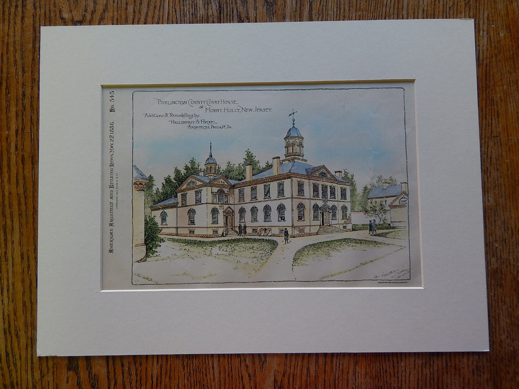Burlington County Court House, Mount Holly, NJ, 1886, Original Plan