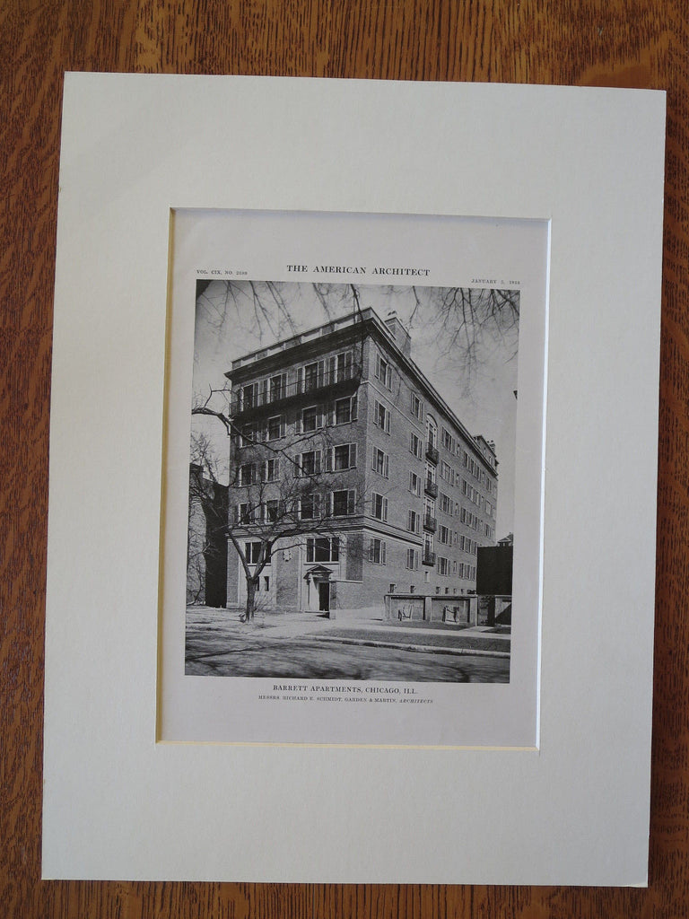 Barrett Apartments, Chicago, IL, Schmidt, Garden & Martin, 1916, Lithograph