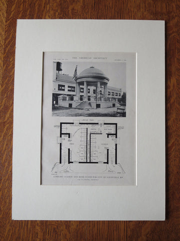Comfort Station, Band Stand Plan, Louisville, KY, V.P. Collins, 1918, Lithograph