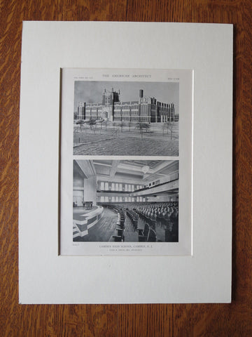 Camden High School, Camden, NJ, Paul A. Davis, Architect, 1918, Lithograph