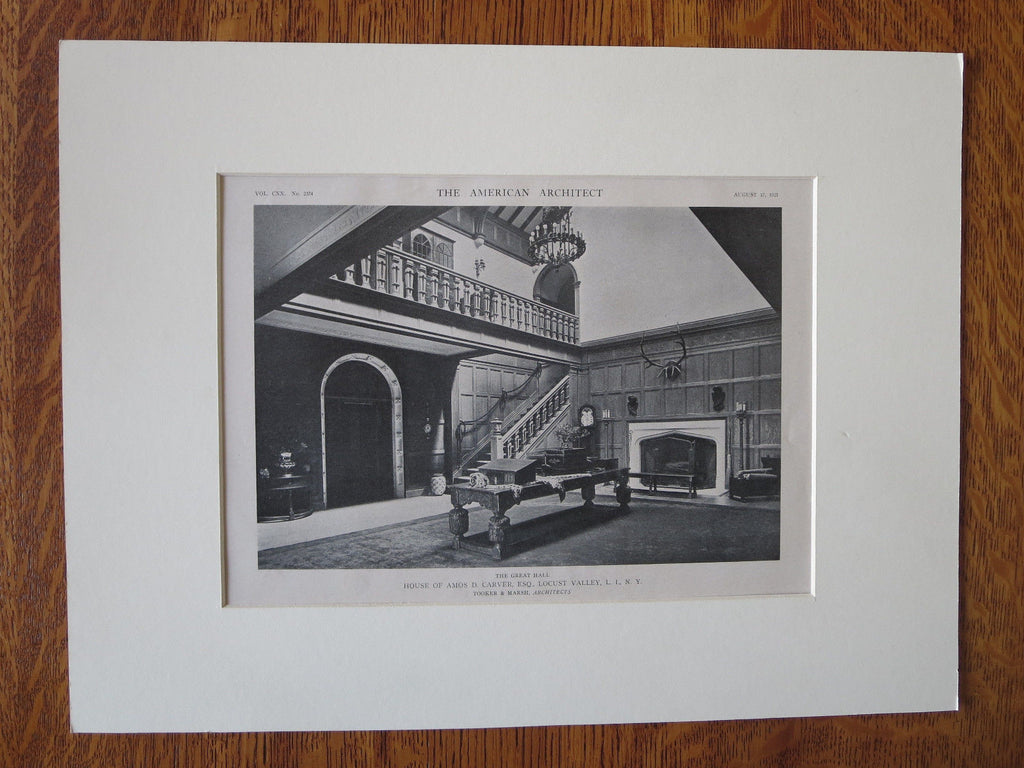 Amos Carver House, Interior, Locust Valley, NY, Tooker & Marsh, 1921, Lithograph