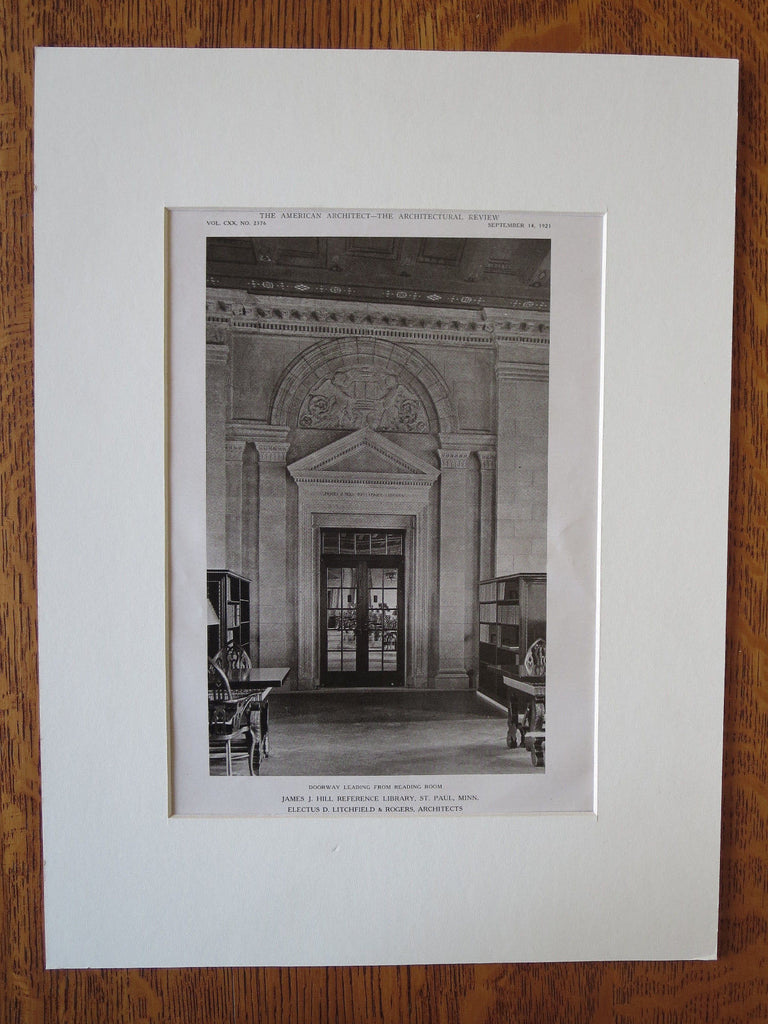 James J Hill Library, Interior, St Paul, MN, Litchfield/Rogers, 1921, Lithograph