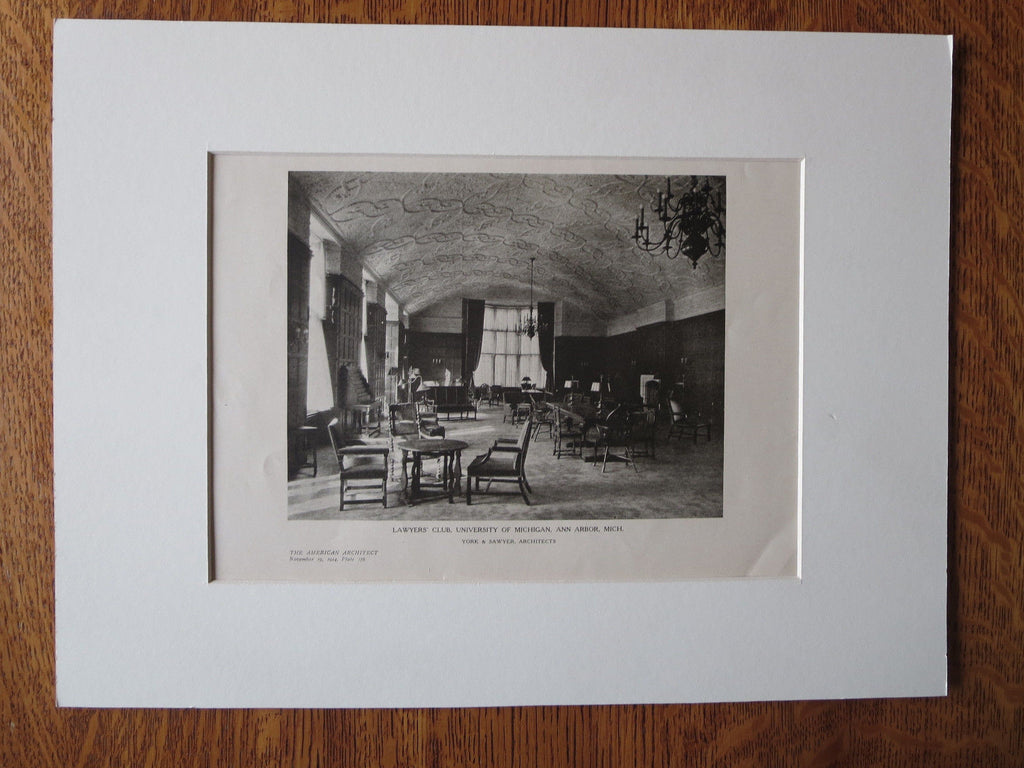 Lawyers' Club, Interior, U of MI, Ann Arbor, MI, York & Sawyer, 1924, Lithograph