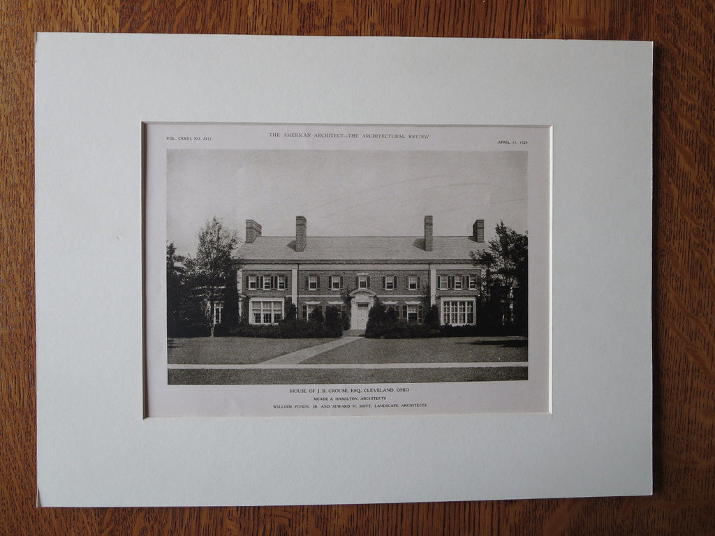 J.B. Crouse House, Exterior, Cleveland, OH, Meade & Hamilton, 1923, Lithograph